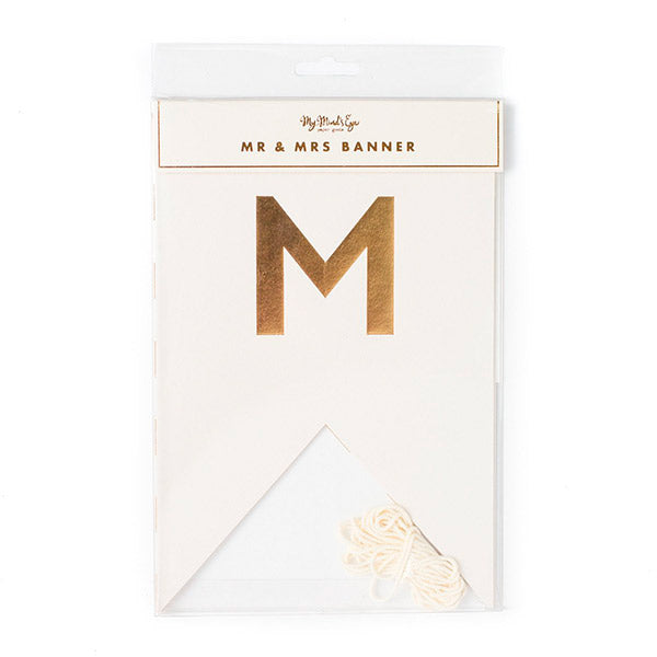 Banderines blanco dorado Mr& Mrs