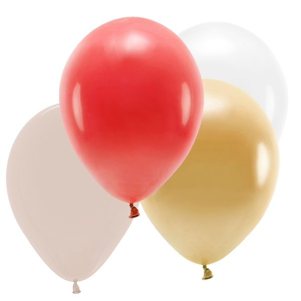 Mix globos colores Red & Gold ECO / 10 uds.