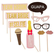 Kit Photo Booth Gold & Pink / 10 Piezas - La Fiesta de Olivia - 1