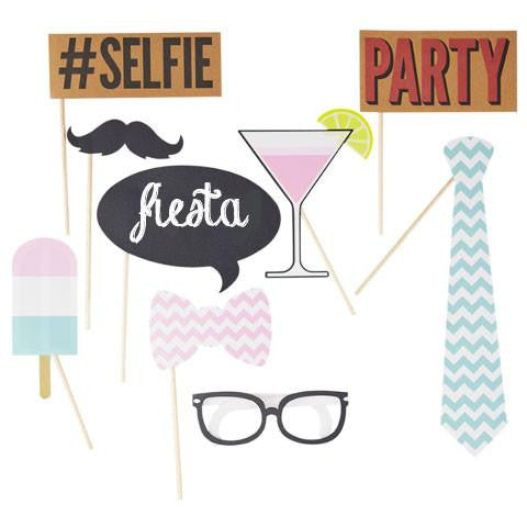 Kit Photo Booth #SELFIE / 10 Piezas - La Fiesta de Olivia