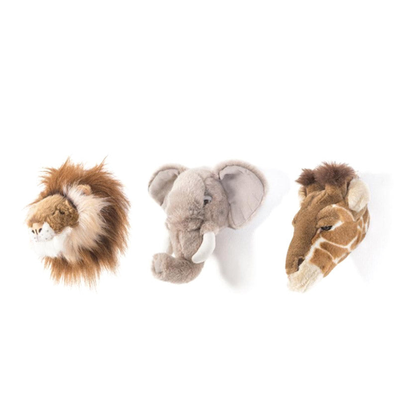 Set mini cabezas de peluche Safari