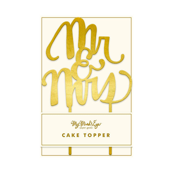 Topper pastel dorado espejo Mr & Mrs