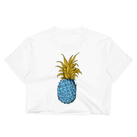 T-Shirt Ananas Crop Top Blanc Oriental Blue