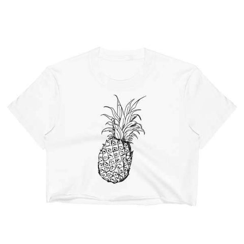T-Shirt Ananas Crop Top Blanc Art Oriental