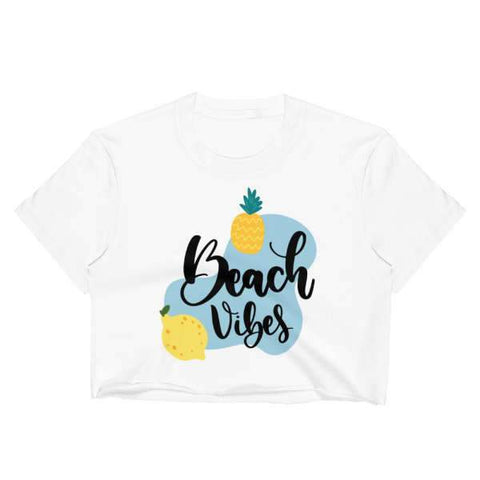 T-Shirt Ananas Crop Top Blanc Ambiance Plage