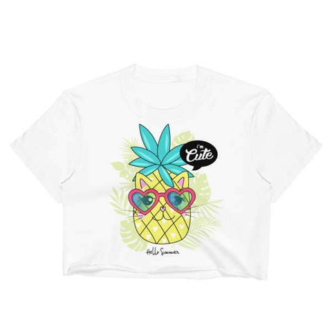 T-Shirt Ananas Crop Top Blanc Chaton