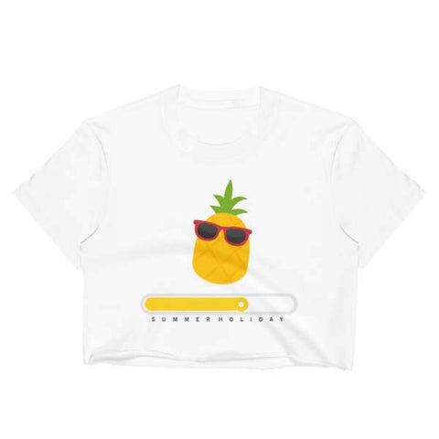 T-Shirt Ananas Crop Top Blanc L'Été Arrive
