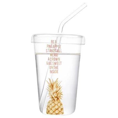 "Verre Ananas  <br> Avec Paille ""Golden Pineapple"" 