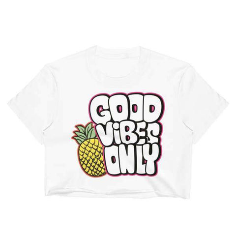 T-Shirt Ananas Crop Top Blanc Good Vibes Only