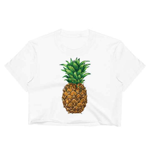 T-Shirt Ananas Crop Top Blanc Zanana