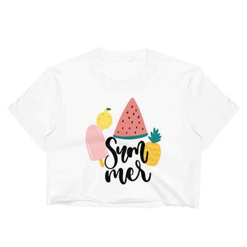 T-Shirt Ananas Crop Top Blanc Plagiste