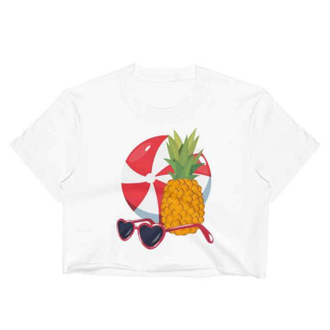 T-Shirt Ananas Blanc Crop Top Plage