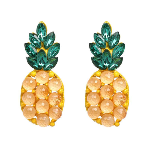 Boucle D'Oreilles Ananas <br> Perlée Cuty | Ananas-Passion
