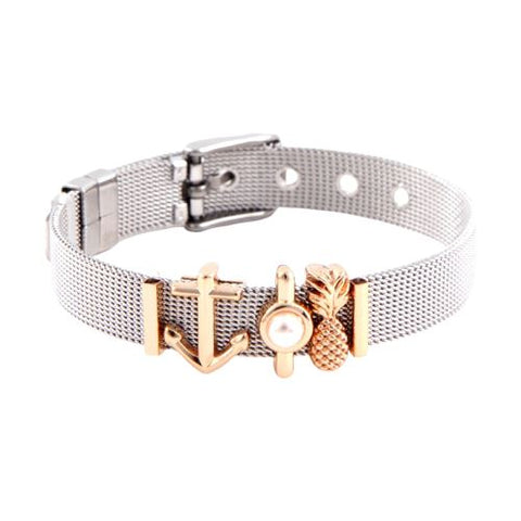 Bracelet Ananas <br> En Or Blanc Charms Trendy | Ananas-Passion