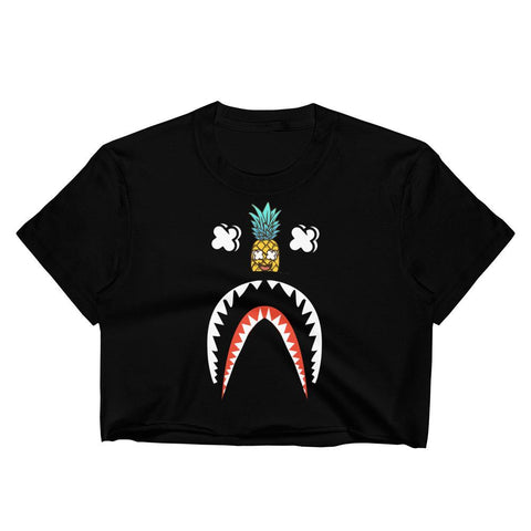 T-Shirt Ananas Crop Top Requin noir