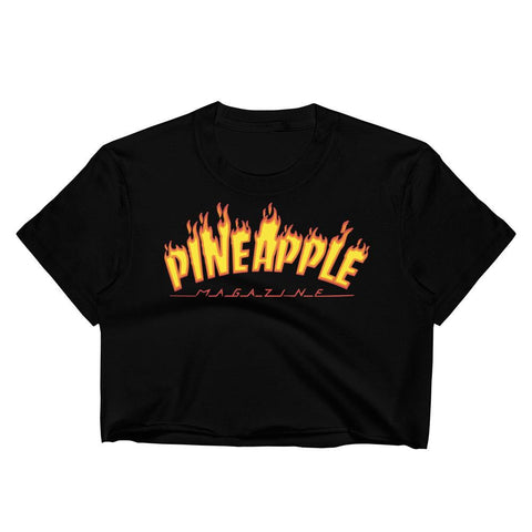 T-Shirt Ananas Crop Top Enflammé Noir