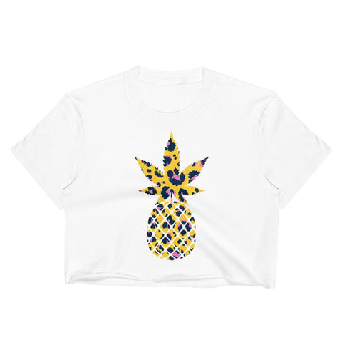 T-Shirt Ananas Crop Top Motif Animal blanc