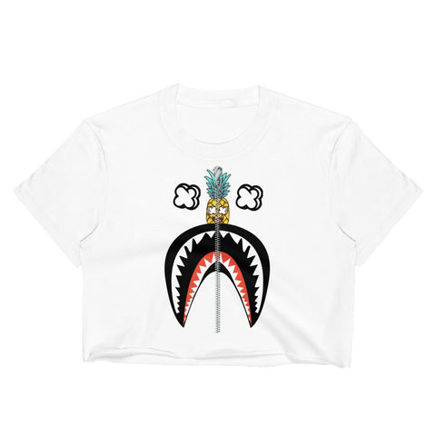 T-Shirt Ananas Crop Top Requin Zip blanc