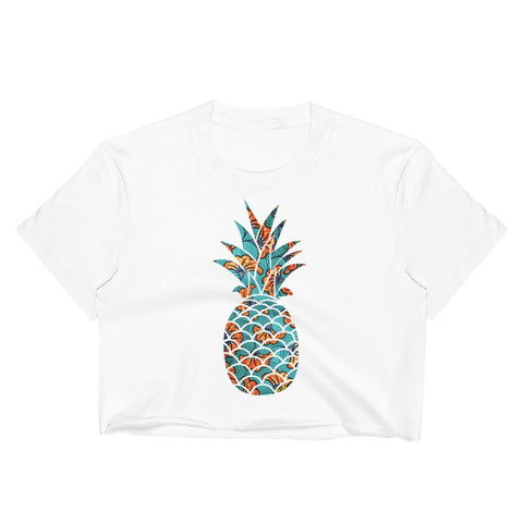 T-Shirt Ananas Crop Top Écaille Wax Africain Bleu blanc