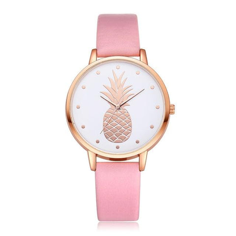 Montre Ananas <br>  Cuir Raffiné Rose | Ananas-Passion