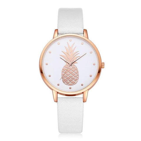 Montre Ananas  <br> Cuir Raffiné Blanc | Ananas-Passion