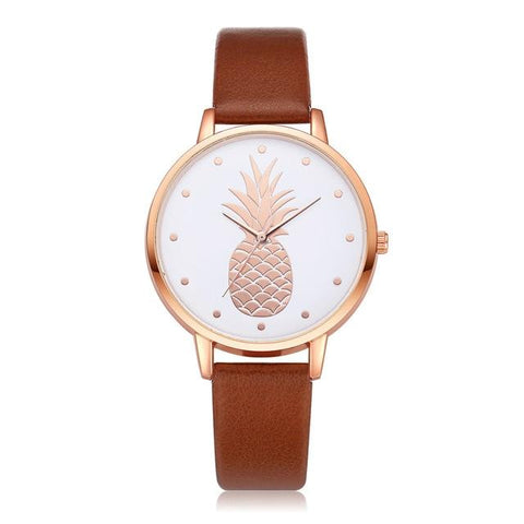 Montre Ananas  <br> Cuir Raffiné Marron | Ananas-Passion