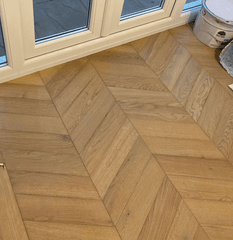 CHEVRON FUMED 60 DEGREE OAK PARQUET  UV OILED ENGINEERED OAK WOOD FLOORING