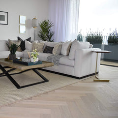 WHITE OILED AND BARE TIMBER  HERRINGBONE ENGINEERED OAK BOARDS  UV OILED