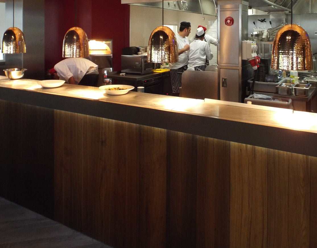 Wood clad bar in Woburn restaurant