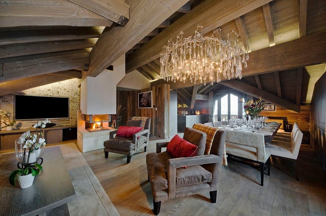white oiled oak in a ski chalet