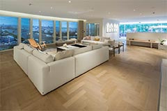 Fumed Oak Parquet Flooring in apartment