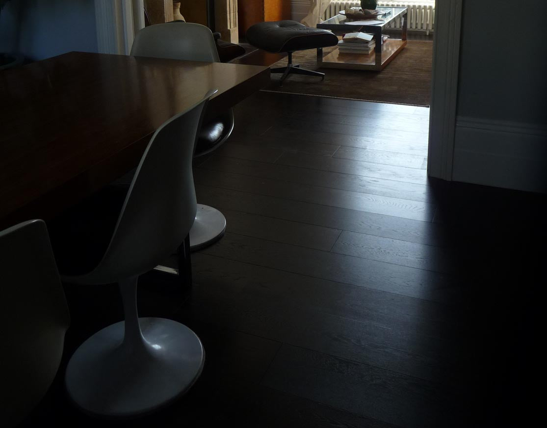 Carbonised oak flooring in a home