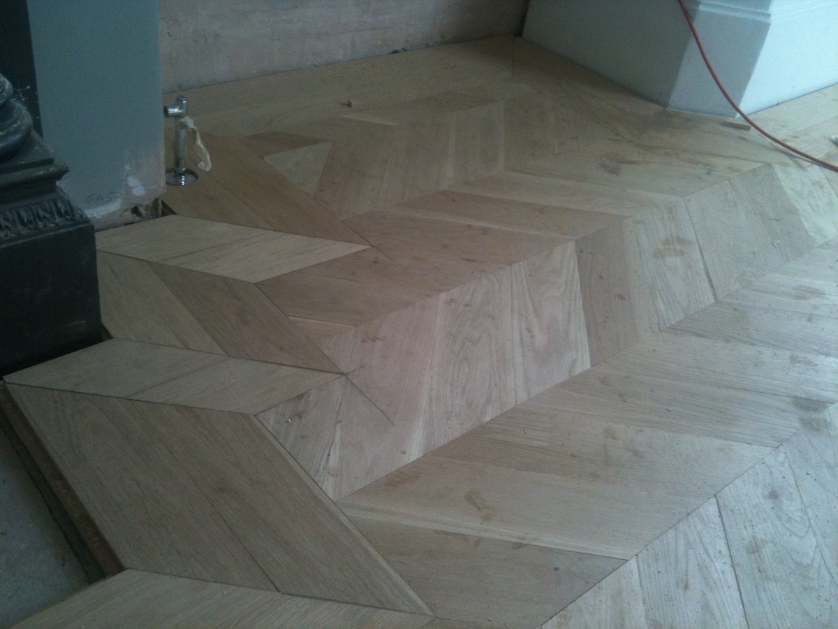 Overlay parquet flooring in London house