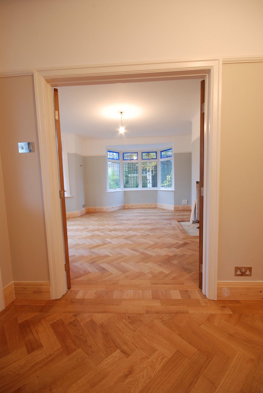 completed installation of parquet flooring