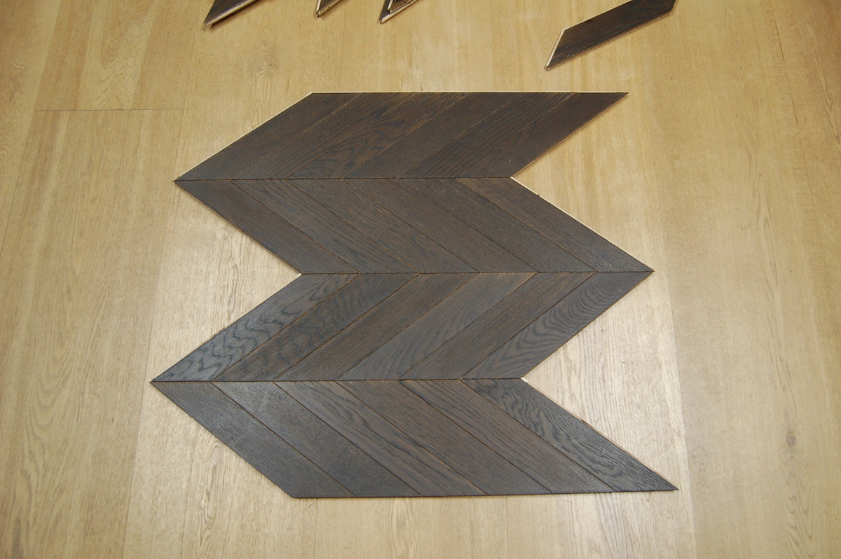 block of chevron parquet flooring