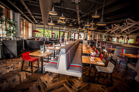 Wood flooring in restaurant