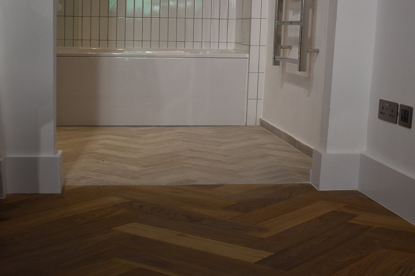 Fumed Oiled Oak Herringbone Parquet - Bathroom
