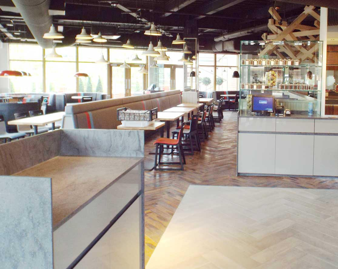 restaurant with new wood flooring