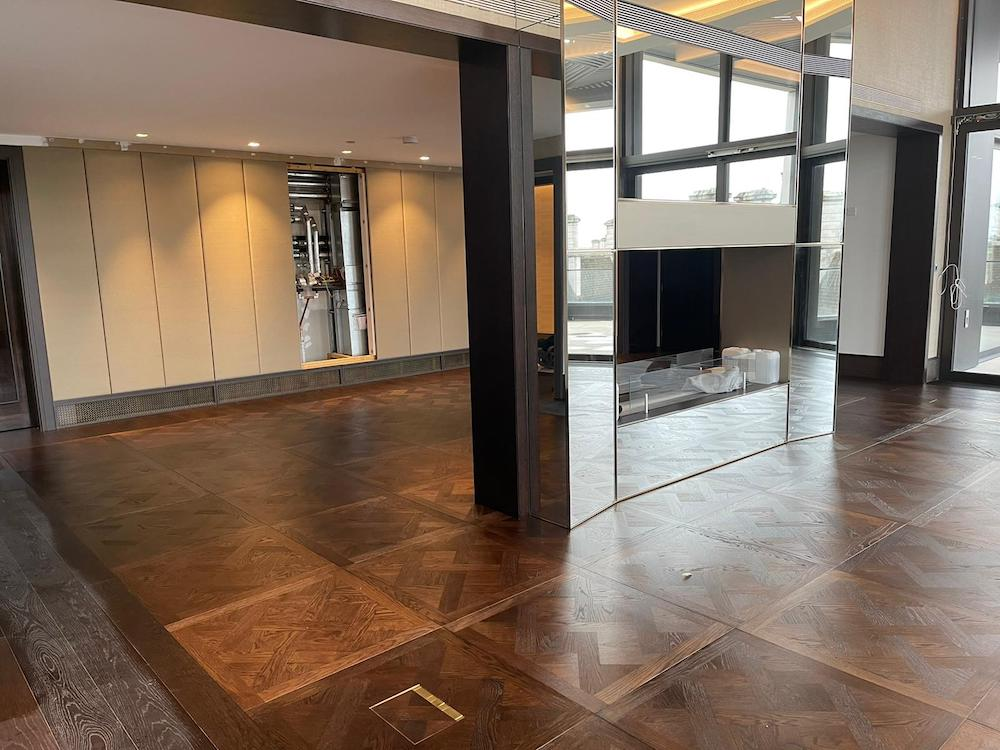 Fumed and Oiled Oak Versailles Parquet Panel