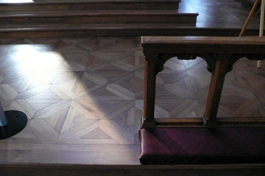 Church with parquet flooring fitted