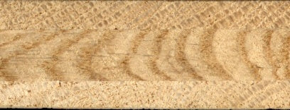 This end view of an engineered sandwich construction floor board shows the grain running in opposite directions.