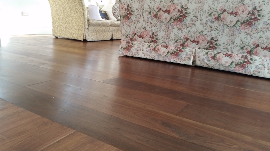 Walnut flooring in a country home