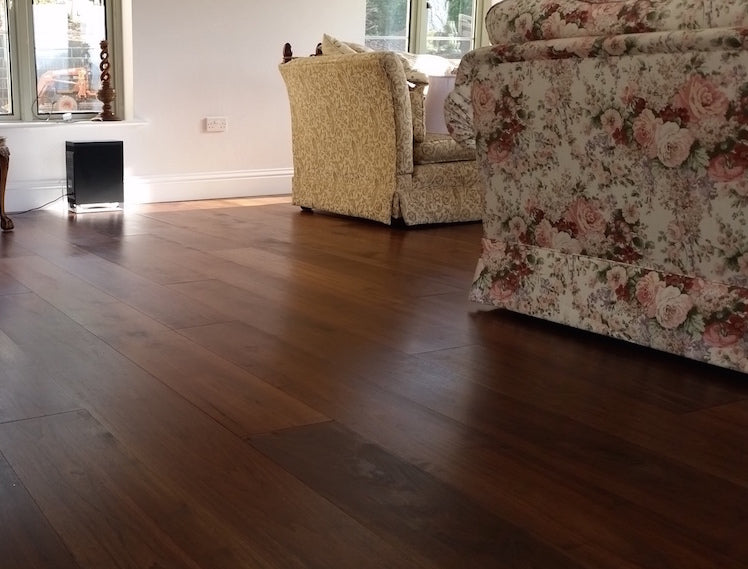 Dark Walnut floors in a living room