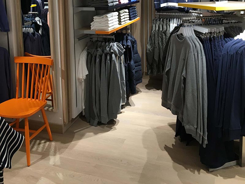clothing shop with wood flooring