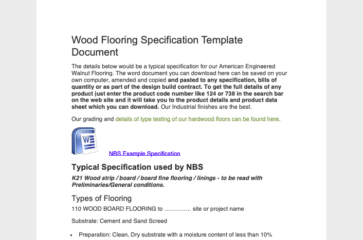 Wood Flooring Spec