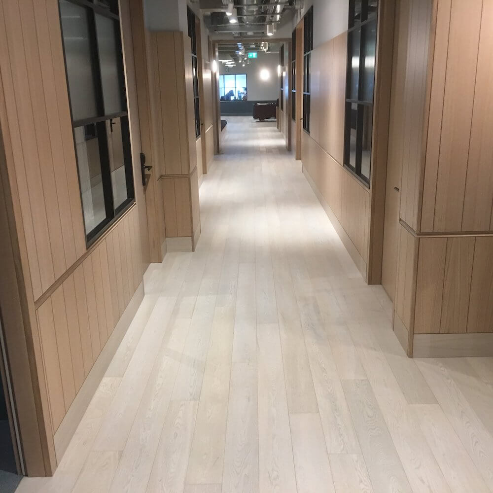 Snow White Engineered Wood Flooring in Thomas House, Victoria London