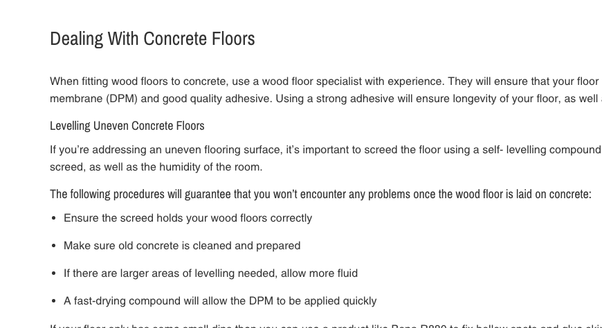 Dealing with Concrete Floors