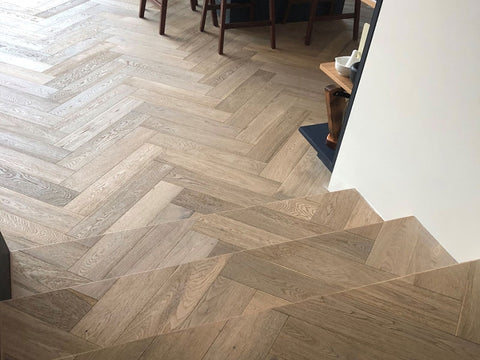 Prime Grade Brushed Fumed Oak Herringbone Parquet