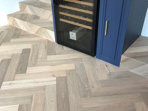 Prime Grade Brushed Fumed Oak Herringbone Parquet Flooring