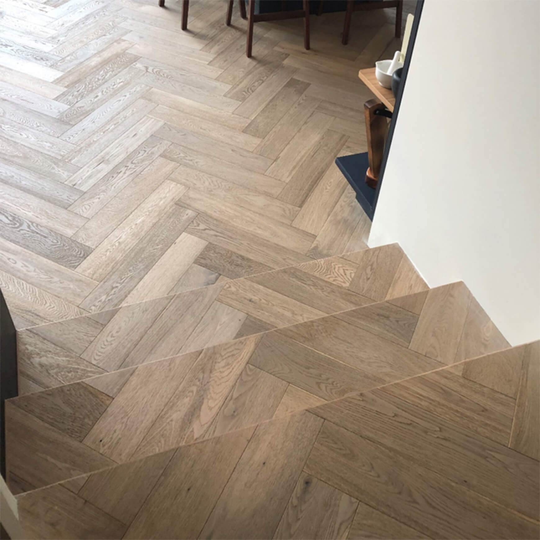 Herringbone Parquet Wood Flooring cladded onto stairs